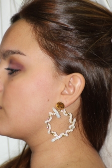 Pendiente perla natural